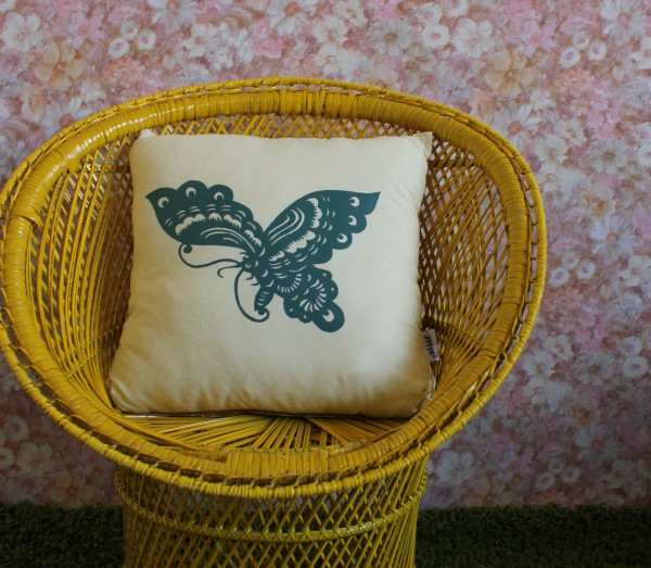Hand Painted Butterfly Cushion